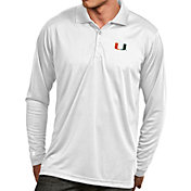 Antigua Men's Miami Hurricanes White Exceed Long Sleeve Polo