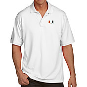 Antigua Men's Miami Hurricanes White Pique Xtra-Lite Polo