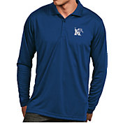 Antigua Men's Memphis Tigers Blue Exceed Long Sleeve Polo