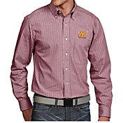 Antigua Men's Minnesota Golden Gophers Maroon Associate Button Down Long Sleeve Shirt