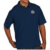 Antigua Men's Marquette Golden Eagles Blue Pique Xtra-Lite Polo
