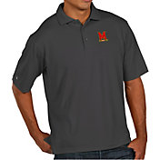 Antigua Men's Maryland Terrapins Grey Pique Xtra-Lite Polo