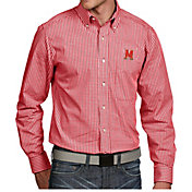 Antigua Men's Maryland Terrapins Red Associate Button Down Long Sleeve Shirt