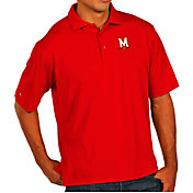 Antigua Men's Maryland Terrapins Red Pique Xtra-Lite Polo