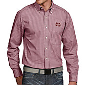 Antigua Men's Mississippi State Bulldogs Maroon Associate Button Down Long Sleeve Shirt