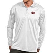 Antigua Men's Mississippi State Bulldogs White Exceed Long Sleeve Polo