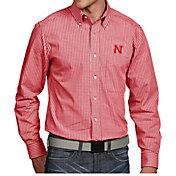 Antigua Men's Nebraska Cornhuskers Scarlet Associate Button Down Long Sleeve Shirt