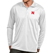 Antigua Men's Nebraska Cornhuskers White Exceed Long Sleeve Polo