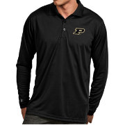 Antigua Men's Purdue Boilermakers Black Exceed Long Sleeve Polo