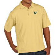Antigua Men's South Florida Bulls Gold Pique Xtra-Lite Polo