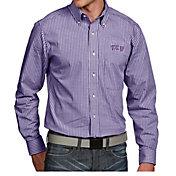 Antigua Men's TCU Horned Frogs Purple Associate Button Down Long Sleeve Shirt