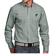 Antigua Men's Tulane Green Wave Olive Associate Button Down Long Sleeve Shirt
