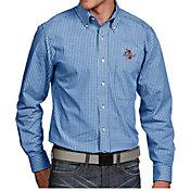 Antigua Men's Tulsa Golden Hurricane Blue Associate Button Down Long Sleeve Shirt
