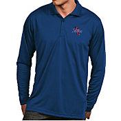 Antigua Men's Tulsa Golden Hurricane Blue Exceed Long Sleeve Polo