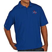 Antigua Men's Tulsa Golden Hurricane Blue Pique Xtra-Lite Polo