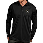 Antigua Men's Vanderbilt Commodores Black Exceed Long Sleeve Polo