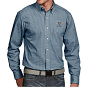 Antigua Men's Virginia Cavaliers Blue Associate Button Down Long Sleeve Shirt