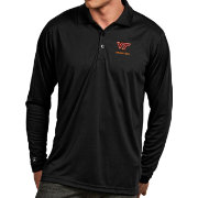 Antigua Men's Virginia Tech Hokies Black Exceed Long Sleeve Polo