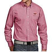 Antigua Men's Virginia Tech Hokies Maroon Associate Button Down Long Sleeve Shirt