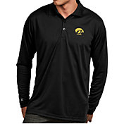 Antigua Men's Iowa Hawkeyes Black Exceed Long Sleeve Polo