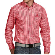 Antigua Men's Wisconsin Badgers Red Associate Button Down Long Sleeve Shirt