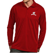 Antigua Men's Wisconsin Badgers Red Exceed Long Sleeve Polo