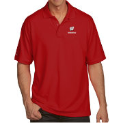 Antigua Men's Wisconsin Badgers Red Pique Xtra-Lite Polo