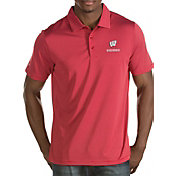 Antigua Men's Wisconsin Badgers Red Quest Polo