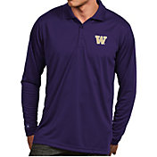 Antigua Men's Washington Huskies Purple Exceed Long Sleeve Polo