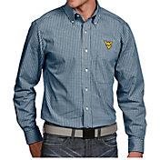 Antigua Men's West Virginia Mountaineers Blue Associate Button Down Long Sleeve Shirt