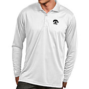 Antigua Men's Iowa Hawkeyes White Exceed Long Sleeve Polo
