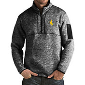 Antigua Men's Wyoming Cowboys Black Fortune Pullover Jacket
