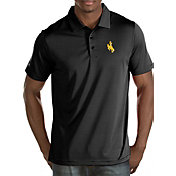 Antigua Men's Wyoming Cowboys Black Quest Polo