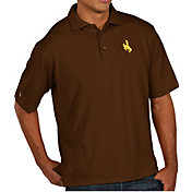 Antigua Men's Wyoming Cowboys Brown Pique Xtra-Lite Polo
