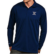 Antigua Men's Xavier Musketeers Blue Exceed Long Sleeve Polo