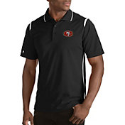 Antigua Men's San Francisco 49ers Merit Black Xtra-Lite Polo