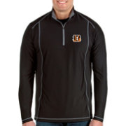 Antigua Men's Cincinnati Bengals Tempo Black Quarter-Zip Pullover