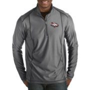 Antigua Men's Denver Broncos Quick Snap Logo Tempo Grey Quarter-Zip Pullover