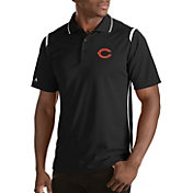 Antigua Men's Chicago Bears Merit Black Xtra-Lite Polo