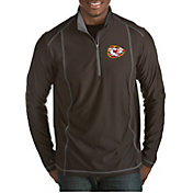 Antigua Men's Kansas City Chiefs Quick Snap Logo Tempo Black Quarter-Zip Pullover
