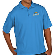 Antigua Men's Los Angeles Chargers Pique Xtra-Lite Blue Polo