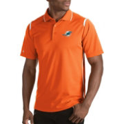 Antigua Men's Miami Dolphins Merit Orange Xtra-Lite Polo