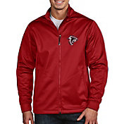 Antigua Men's Atlanta Falcons Quick Snap Logo Red Golf Jacket