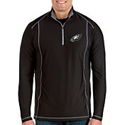 Antigua Men's Philadelphia Eagles Tempo Black Quarter-Zip Pullover