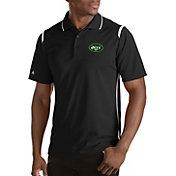 Antigua Men's New York Jets Merit Black Xtra-Lite Polo