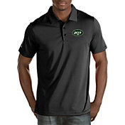 Antigua Men's New York Jets Quest Black Polo