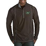 Antigua Men's New York Jets Tempo Black Quarter-Zip Pullover