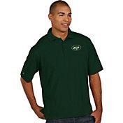 Antigua Men's New York Jets Pique Xtra-Lite Green Polo