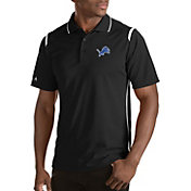 Antigua Men's Detroit Lions Merit Black Xtra-Lite Polo