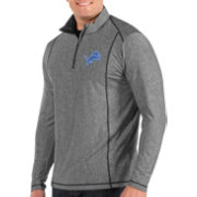 Antigua Men's Detroit Lions Tempo Grey Quarter-Zip Pullover